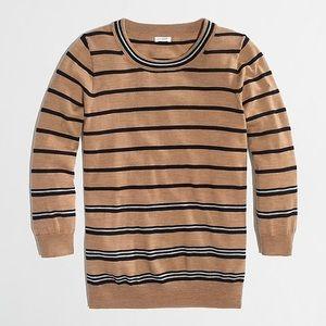 J CREW Crewneck Charley Sweater Merino Wool Stripe